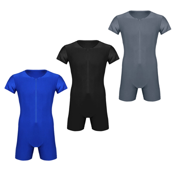 MSemis Mens Bodysuit Leotard Wrestling Singlet Zipper Boxer Thong Body Suit Bodystocking Fashion Clubwear Costumes 2