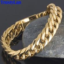 TrustyLan Luxus Goldene Gold Farbe Chunky Kette Mann Armband Miami Kubanischen Curb Kette Herren Armbänder Für Männer Indische Schmuck Geschenke