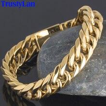 Trustylan Luxe Golden Goud Kleur Chunky Ketting Man Armband Miami Cubaanse Curb Chain Heren Armbanden Voor Mannen Indian Sieraden Geschenken