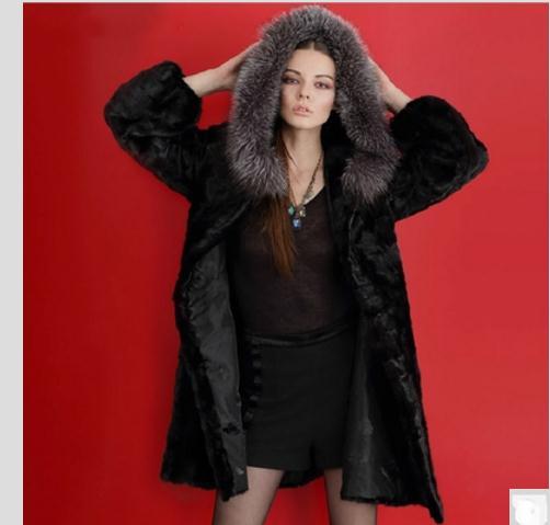 Grande Fausse Vestes Black Femme Capuche Outwears Faux Casual Section K584 Taille made Longue De À En Man Fourrure 6xl Femmes Vêtements Pvercoats S qBXZRZ
