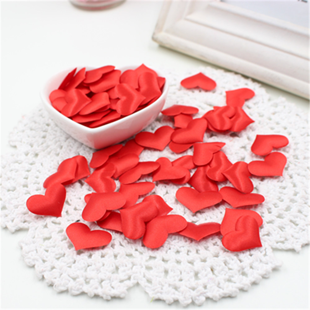 100Pcs Silk Sponge Satin Fabric Cute Heart Petals Wedding Confetti DIY Romantic Heart Cloth Decorations Scrapbook Accessories