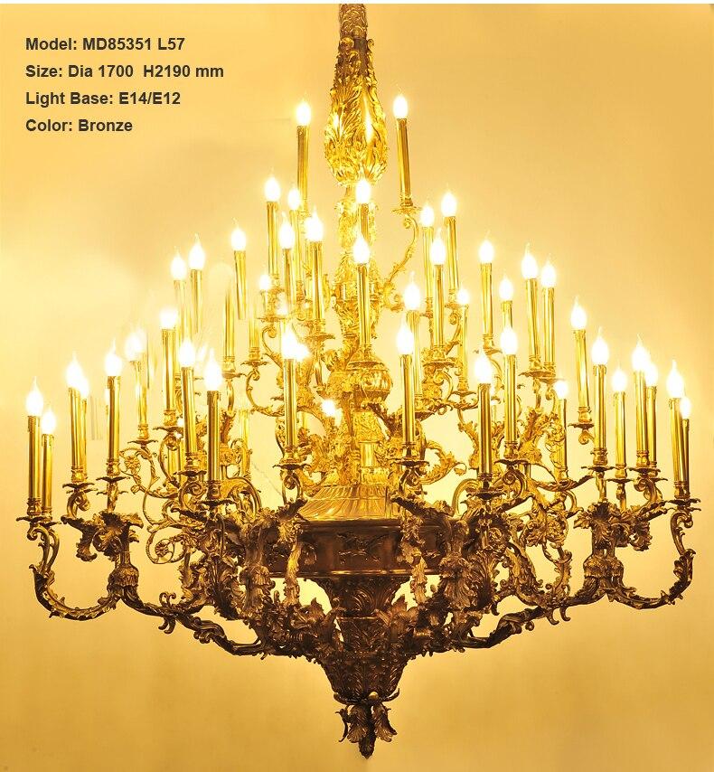 Роскошный Медь люстра светильник Винтаж люстры подвесной светильник для вилла отель проект свечи светильников, освещение