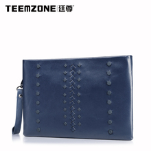Teemzone Men Large Capacity Envelope Clutch Bag Brand Mens Wallet Leather Genuine Cowhide Wallets Men's Purses And Handbags