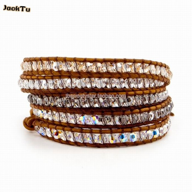 2017 4 kinds crystal mixed fashion jewelry wholesale leather bracelet
