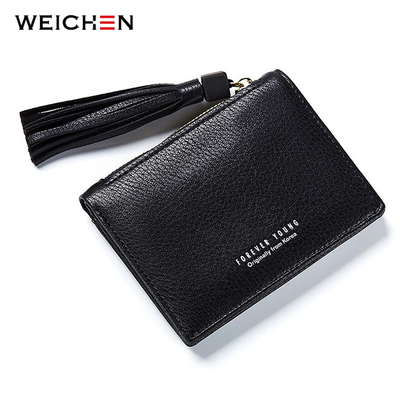 WEICHEN Ladies Purse Hasp Women Short Wallet Lady Tassel PU Leather Brand Designer Coin Pocket Photo Holder Mini Bag for Girls simline fashion genuine leather real cowhide women lady short slim wallet wallets purse card holder zipper coin pocket ladies