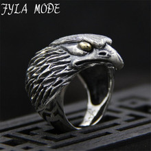 FYLA MODE 2017 Fashion Wholesale Big BIKER MEN's S925 Sterling Silver Black Heavy Metal Eagle Head Ring 34mm Width 24G PBG037