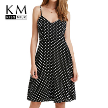 Kissmilk Plus Size 2018 Women A-Line Dot Sleeveless Dress Large Knee-Length Over V-Neck Spaghetti Strap