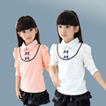 Roupas de outono 2016 das crianças blusas meninas sólida bebê menina de manga comprida de renda fina pullovers camisolas para crianças meninas camisola