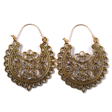 1Pair Bohemian Hollow Drop Earrings Vintage Exaggerated Wedding Fashion Jewelry Women Ladies Alloy Flower Earring Gift