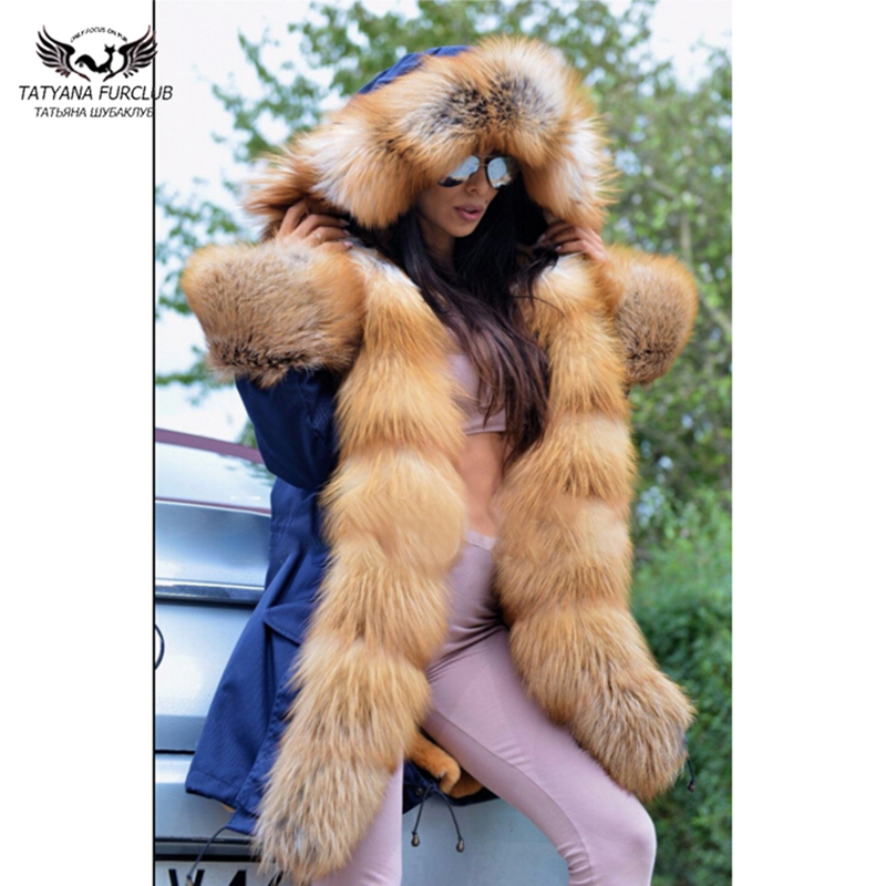 Tatyana Fashion Winter Real Fur Coat Women Luxury Female Parka Real With Fox Collar 2018 Jacket Long Parkas Hood Top Quality