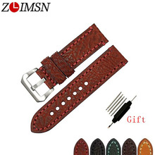 ZLIMSN New Men Genuine Leather Watchband Accessories Wristbands Watch Band Strap 5 colors Suitable For Watch 20mm 22mm 24mm 26mm все цены
