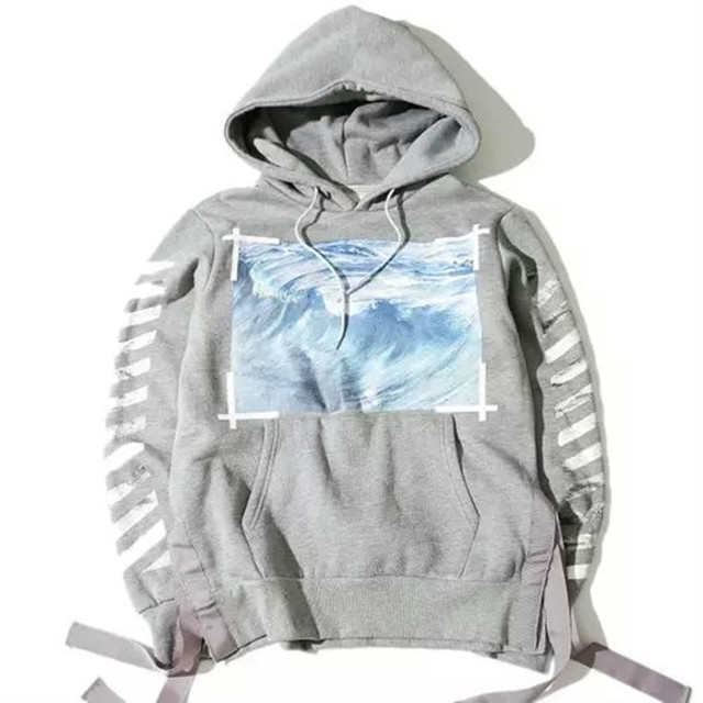 d19e607329e4 OFF WHITE C O VIRGIL ABLOH ocean wave stripe hooded pyrex vision men  Euramerican sweatshirt top quality street fashion hoodie