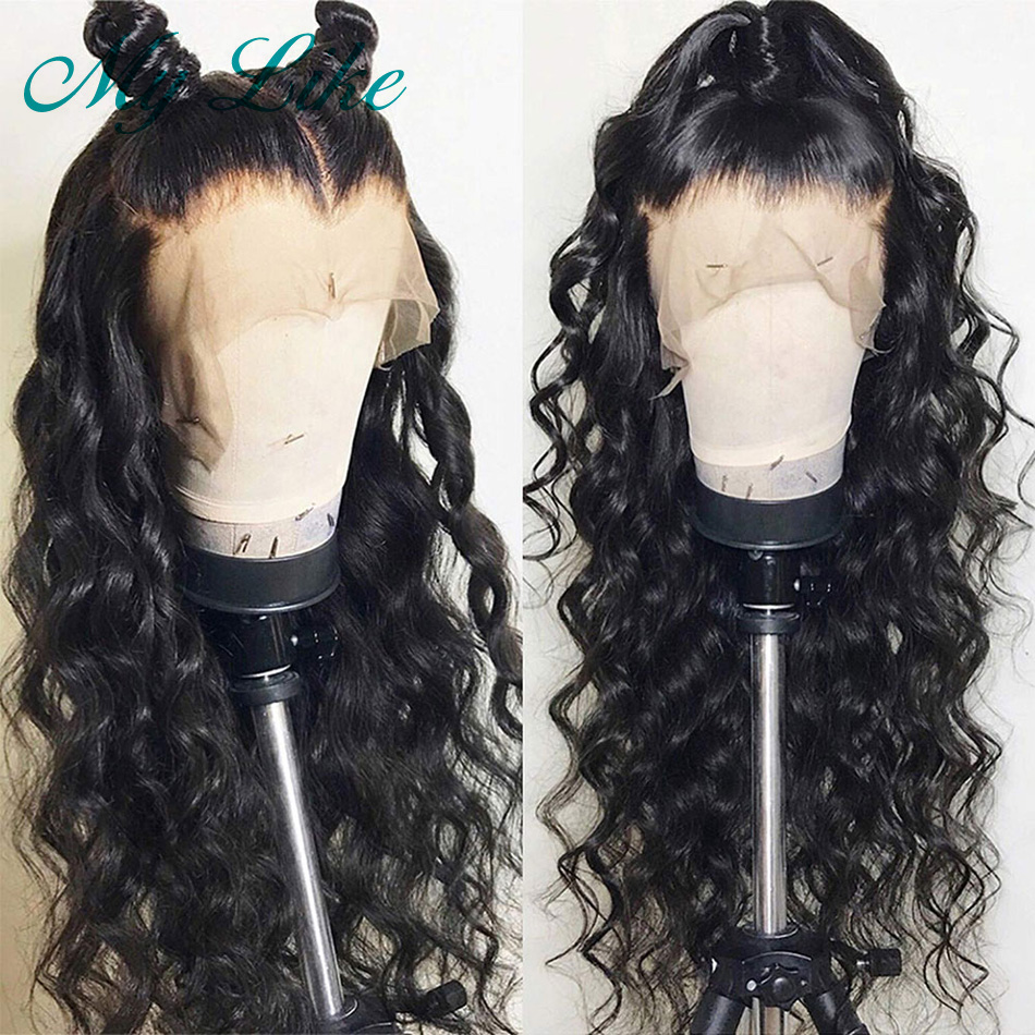 My Like Glueless Full Lace Wigs Loose Deep Wave Lace Front Human Hair Wigs For Women BlacK Brazilian Remy Hair Wigs Pre Plucked(China)