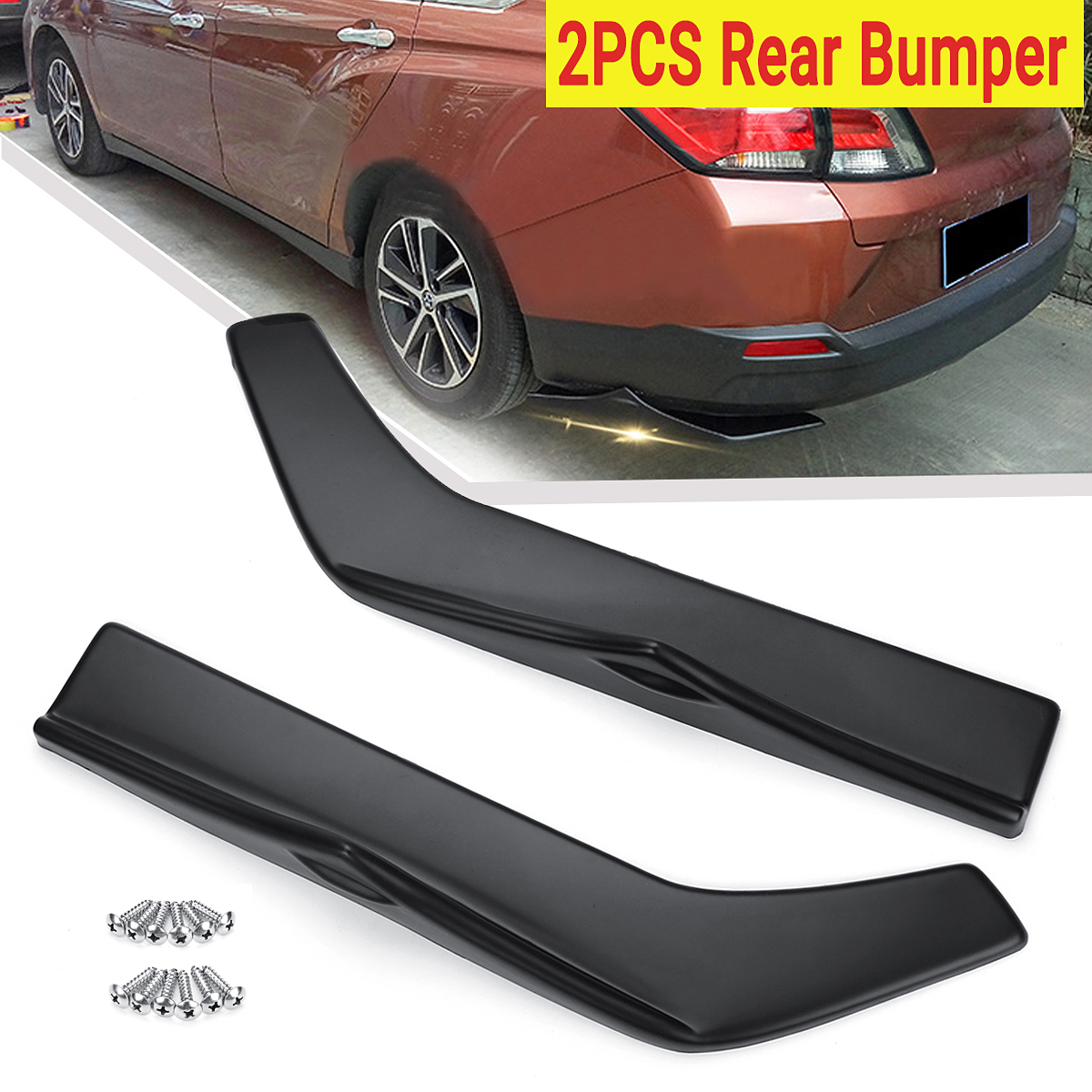 2pcs Universal Car Rear Left&Right Bump Lip Wrap Splitters Side Skirt Extensions Protection Cover2pcs Universal Car Rear Left&Right Bump Lip Wrap Splitters Side Skirt Extensions Protection Cover