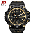 TTLIFE Men Multifuction Luminous Dual Display Sport LED Digital Quartz Watches Alarm Waterproof Chronograph Wristwatch 1545