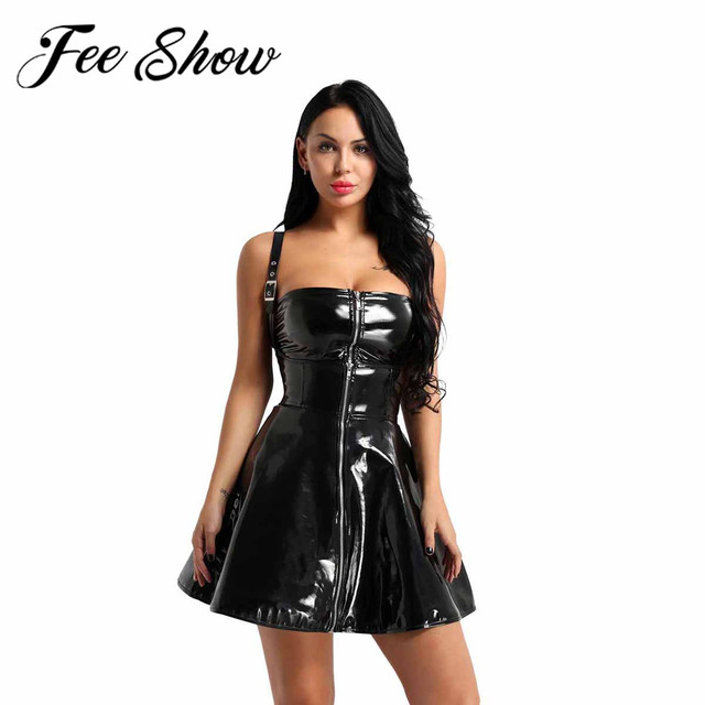 73d058bf18 US $19.69 40% OFF Fashion Adult Women Black Zipper Nightwear Costume Wet  Look Patent Leather Front Zippered X back Vintage Party Club Corset  Dress-in ...
