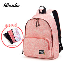 Fashion Printing Backpacks Women Canvas School Backpack Bags for Teenage Girls Laptop Back Pack Bag Travel Bagpack Pink Rucksack(China)