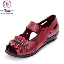 MUYANG MIE MIE D'été Femmes Chaussures Femme En Cuir Véritable Plat Sandales Occasionnels Sandales À Bout Ouvert Femmes Sandales