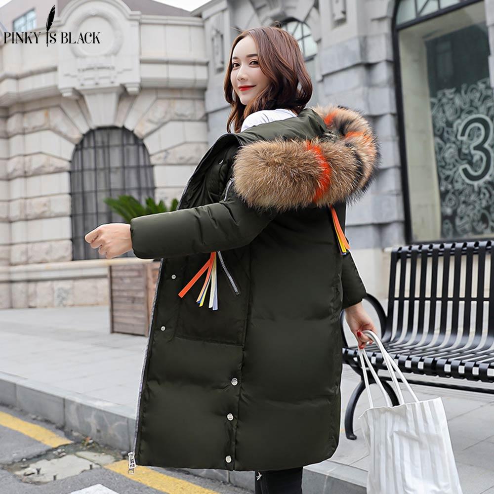 PinkyIsBlack New Warm Winter Jacket Women Hooded Down Cotton Padded Long Parka Winter Coat Women Large