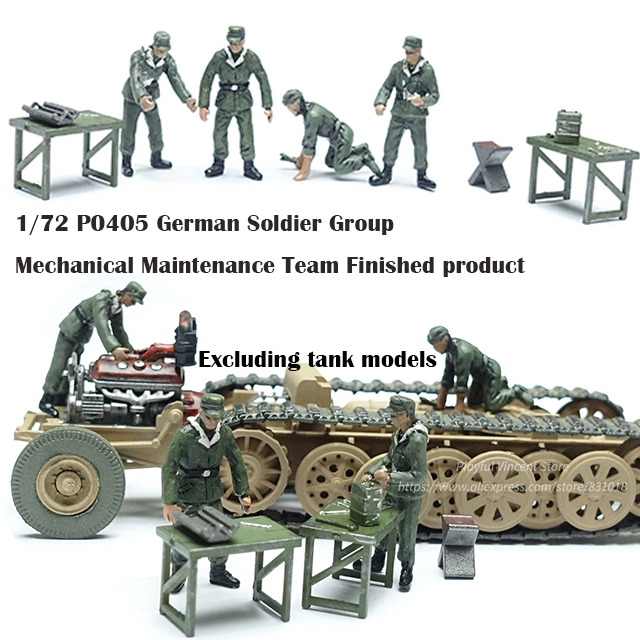 1/72 P0405  German Soldier Group  Mechanical Maintenance Team  Finished Product  Military Scene Model Accessories