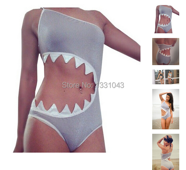 8fca39cbf1 2015 New Sharkini One-Piece Push Up Swimsuit Bodysuit For Women, Sexy  Spandex Bathing Suit Shark CUTOUT Monokini Biquini