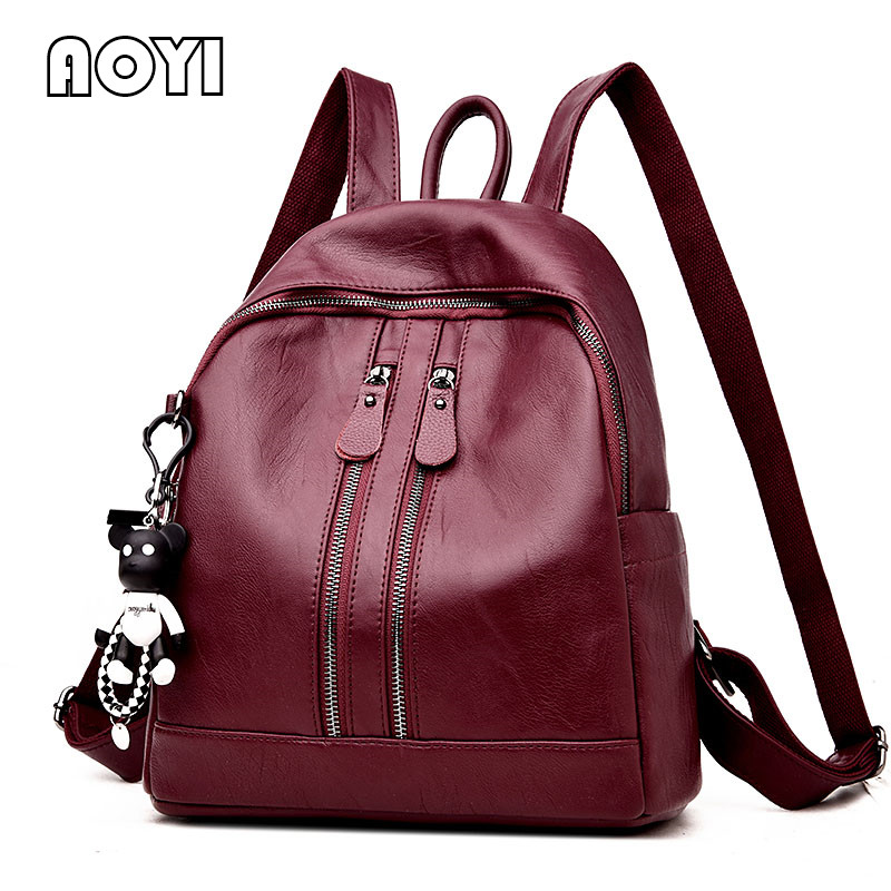 AOYI Women PU Leather Backpack Fashion Women Backpack Ladies Shoulder Bag Casual Travel Bag School Back Bags for Teenager Girls 2018 new casual girls backpack pu leather 8 colors fashion women backpack school travel bag with bear doll for teenagers girls page 5