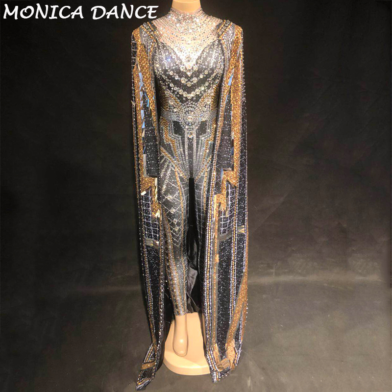 Women Sexy Stage Jumpsuit + Coat Silver Gold Sparkling Crystals Bodysuit Nightclub Party Singer Stage Wear Bling Dance Costumes
