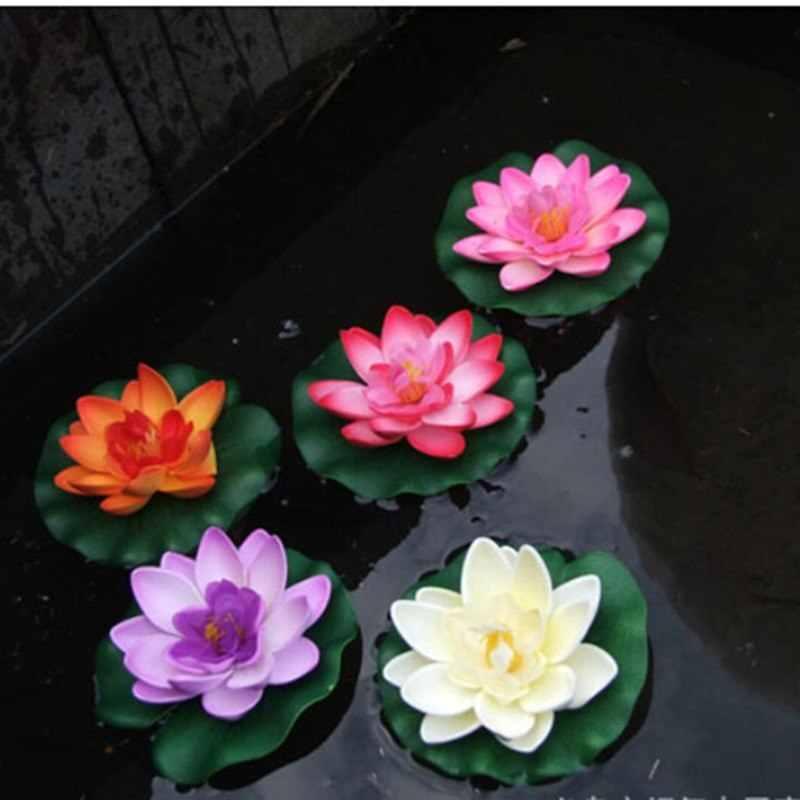 1個人工蓮スイレンフローティングフラワー池タンク植物飾り10センチメートル家庭の池の装飾