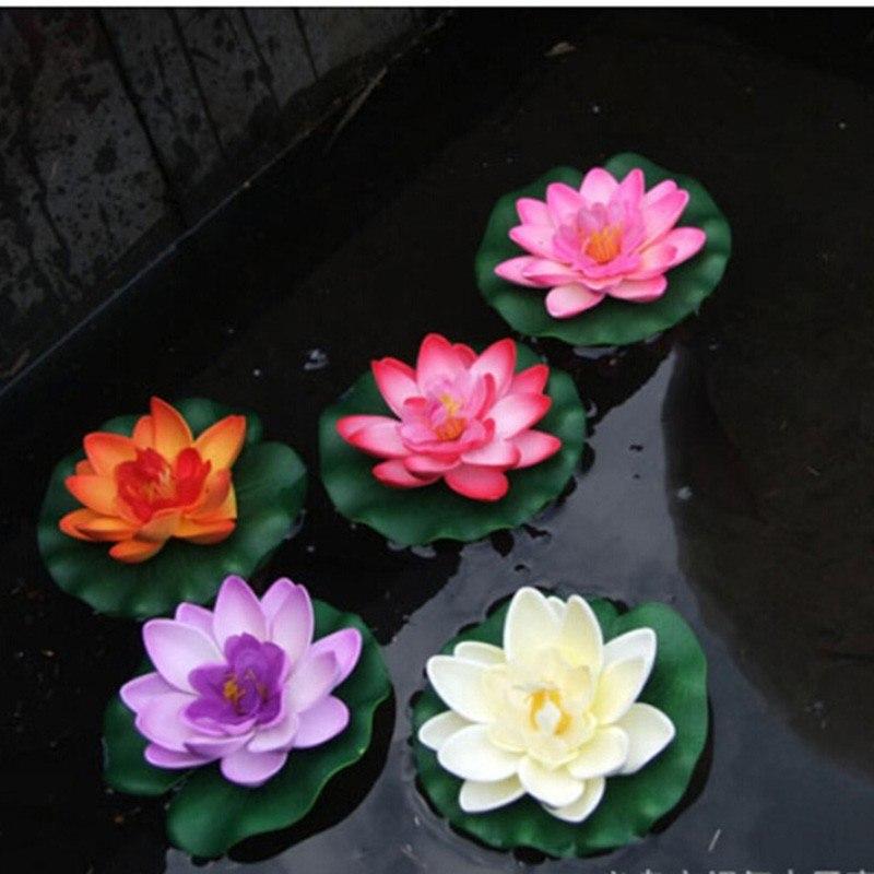 1 PCS Artificial Lotus Water Lily Floating Flower Pond Tank Plant Ornament 10cm Home Garden Pond Decoration