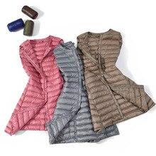 Abrigos ultraligeros para mujer, chalecos informales ajustados de pato largo abajo, chaquetas de invierno de alta calidad, chaleco cálido para mujer 2020