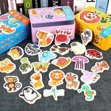 Детские познавательные Пазлы деревянные Мультяшные познавательные Пазлы игрушки детские железные коробки Карточки подходящие Развивающие игрушки для детей