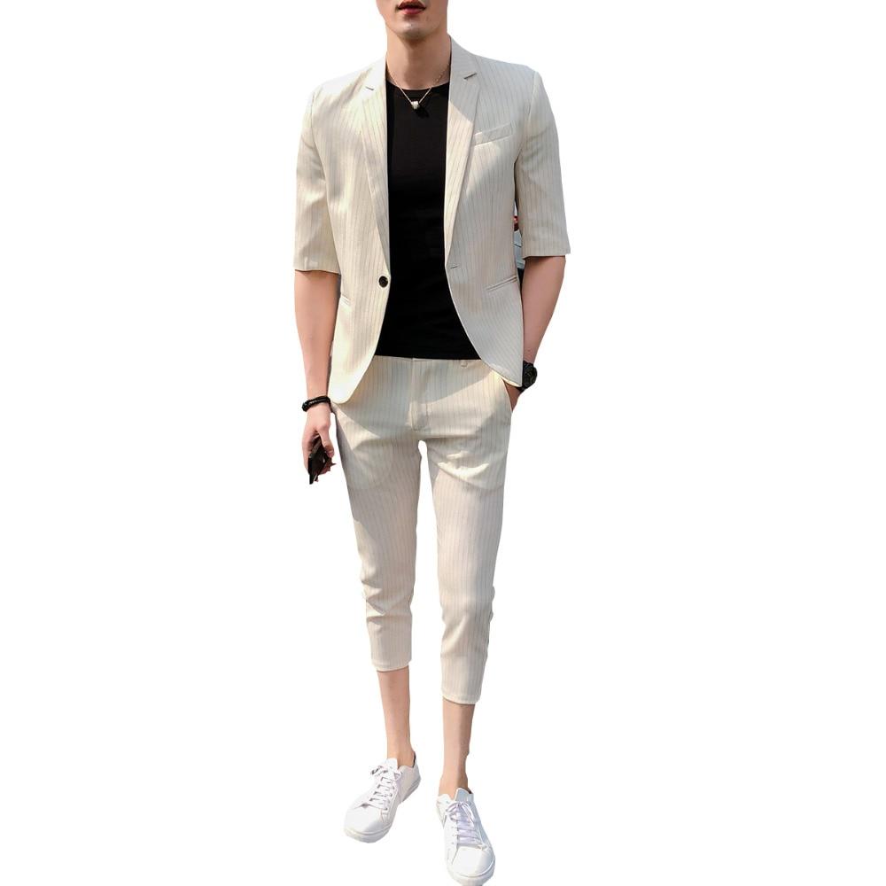 Leisure Série avant Mince Noir Mariage Manches Étudiant blanc Mâle Été Masculin ardoisé Jeunesse Section Affaires Suit Pantalon Coréenne Costume 46r6qz