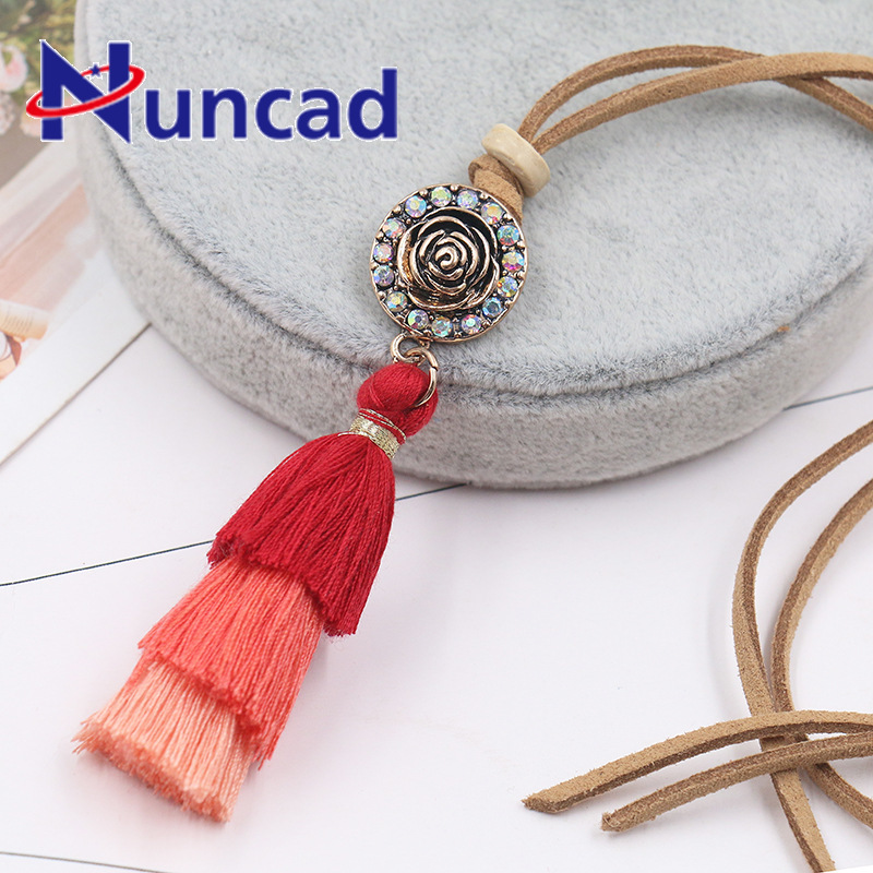 Popular Ornaments Three-colour Tassels Pendant Necklace Long Fund Alloy Rose Sweater Chain Necklace Collares Largos De Moda 2018