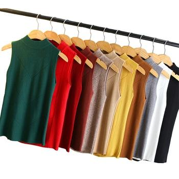 Knit Vest Women 2019 Autumn Winter Half high collar Sleeveless Sweaters Pullover Elasticity Bottoming shirt Female Spring H686