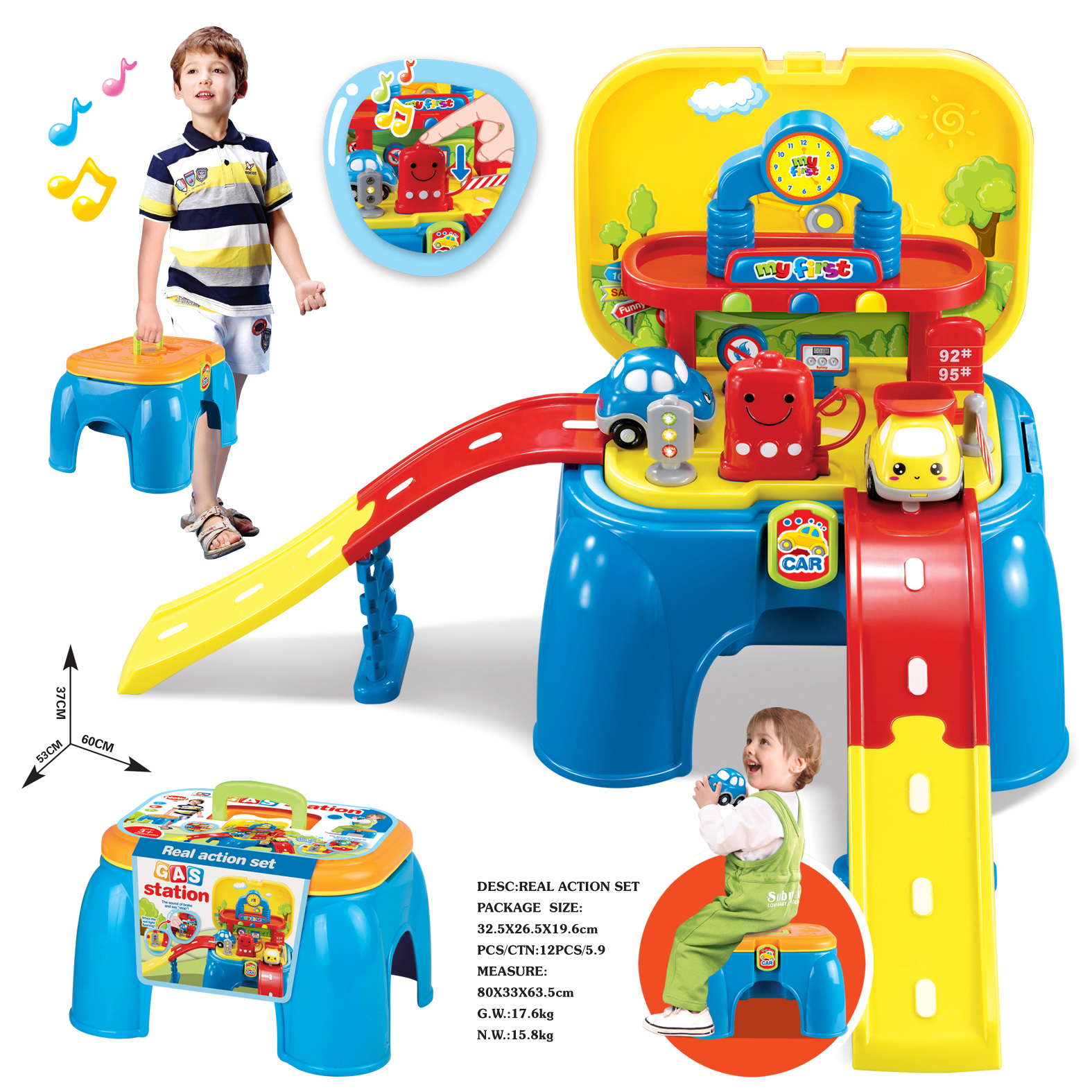 New Arrival Children Play Male Boy Toy Kitchen Set Light Rail Gas