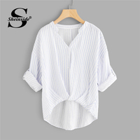 Sheinside Striped Dip Hem Shirt Women Rolled Up Sleeve V Neck Casual Top 2018 Summer Asymmetrical