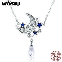 WOSTU Hot Selling Authentic 925 Sterling Silver The Moon And Stars Pendant Necklaces For Women Girl
