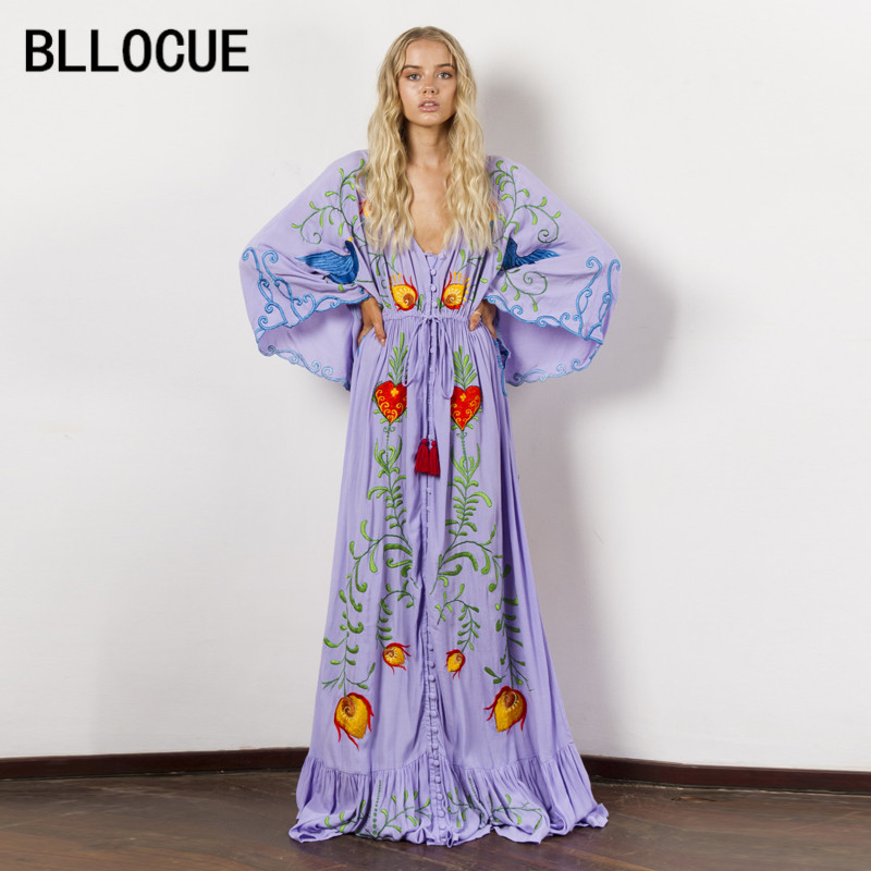 BLLOCUE High end Custom Women Bohemian Floral Embroidery Dresses 2018 Europe and America Holiday Dress Vestidos