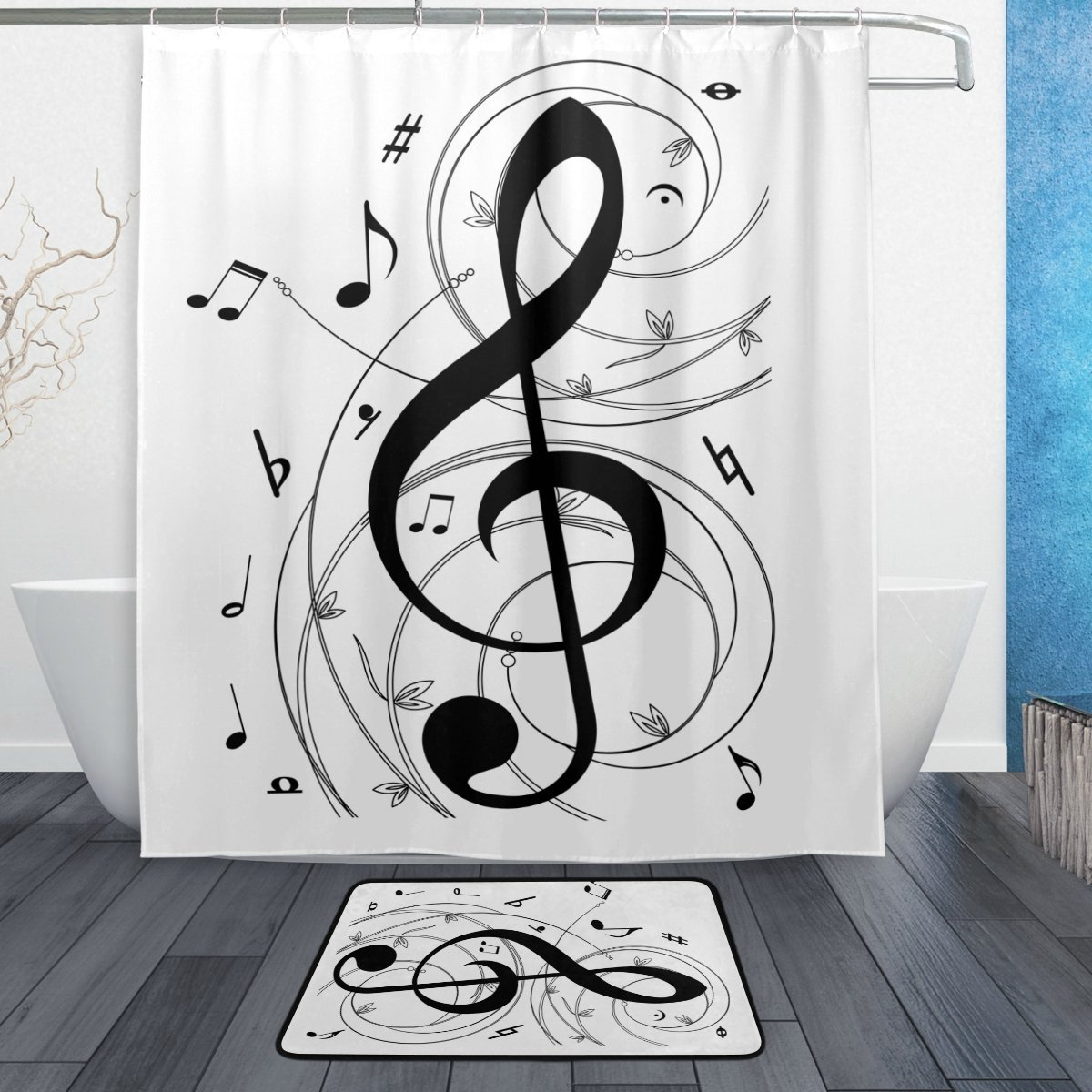 Music Shower Curtain and Mat Set, Musical Notes Waterproof Fabric Bathroom Curtain