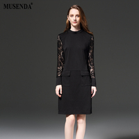 MUSENDA Plus Size 5XL Women Slim Lace Pockets Dress 2017 Spring Elegant OL Long Sleeve Dress Lady Fashion Office Work Dresses