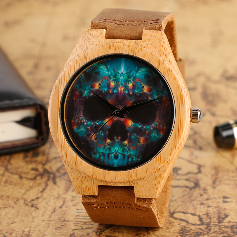 Wooden Watches Quartz Punk Skull Mens Watch Leather Strap Bamboo Cool Modern Casual Sport Creative Nature Wood Male Clock Hour yisuya nature broken leaf wood watch men analog quartz leather strap fashion novel bamboo wrist watch women modern cool clock