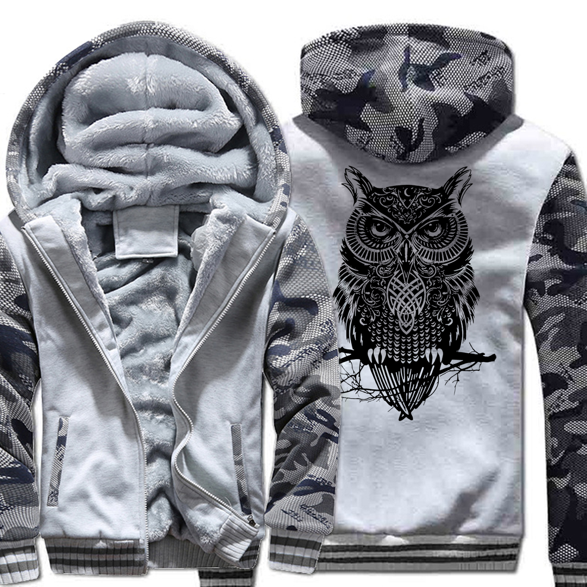 2019 owl cartoon Hoodies Men Winter Fleece Thick Sweatshirt Men Print Casual Streetwear Harajuku Hoody Men's Sportswear Hip Hop