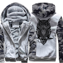 2019 owl cartoon Hoodies Men Winter Fleece Thick Sweatshirt Print Casual Streetwear Harajuku Hoody Mens Sportswear Hip Hop