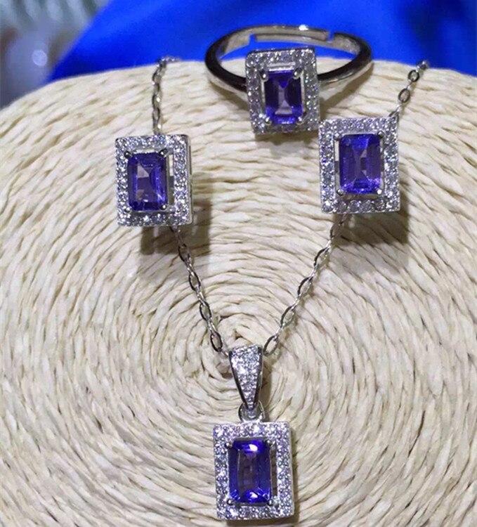 KJJEAXCMY boutique bijoux 925 pur argent incrusté naturel tanzanthus pierre pendentif collier bague ensemble nouvelle robe chrysanthème anti