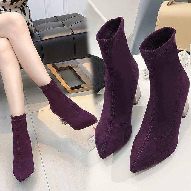 Botas de calcetín elásticas para mujer, botines de tacón alto grueso, elásticos, Sexy, con punta en pico, talla grande