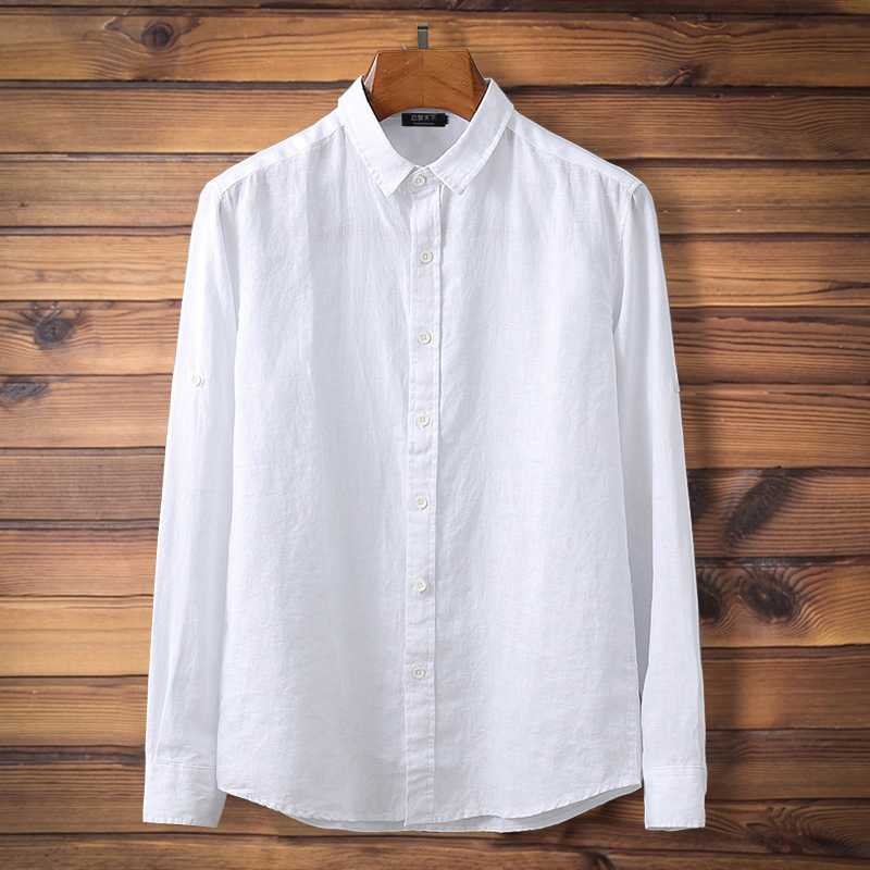 Plus Size  4xl 5xl 7xl 8xl 9xl Men Linen Shirts Long-sleeve White Shirts Military Men Solid Color Men's Tops Bust 160 Cm Shirt