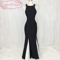 SuperKimJo Schwarz und Weiß Abendkleider für Frauen Mermaid Lange Günstige Abendkleider China Robe De Soiree