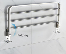 Stainless Steel Folding Towel Rack Hanging Bar with Hooks Multifunctional Bathroom Hardware Accessories