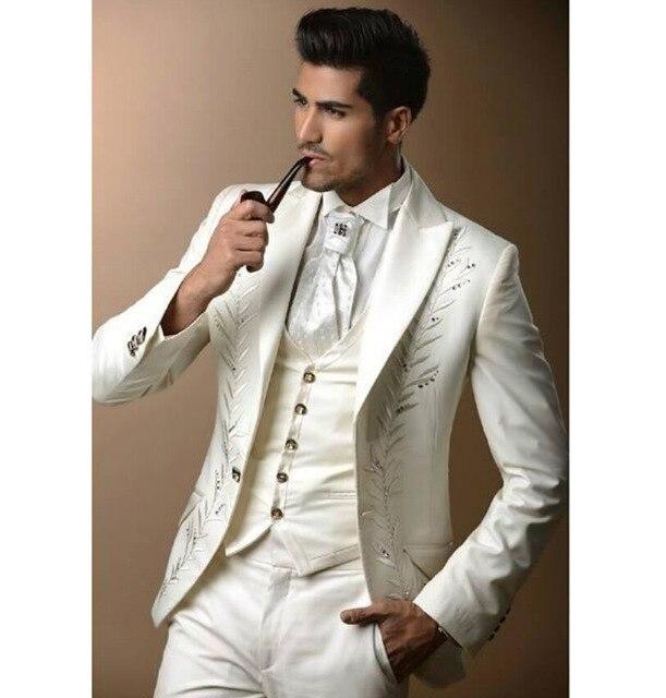 White Men Groom Tuxedos Wedding Best Men Suit Groomsmen Suit Custom Made 2 Piece