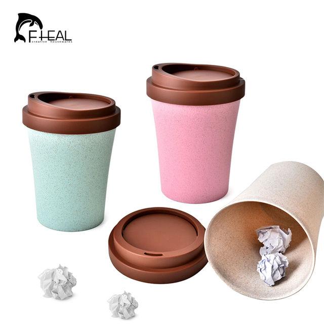 FHEAL Creative Mini Waste Bin Coffee Cup Shape Trash Desktop Litter